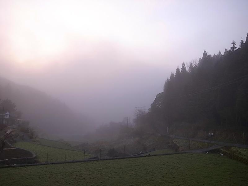 谷にかかる霧。