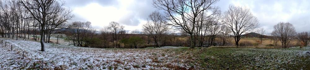 飯田高原の春雪。