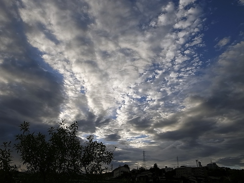 東の空に雲が。
